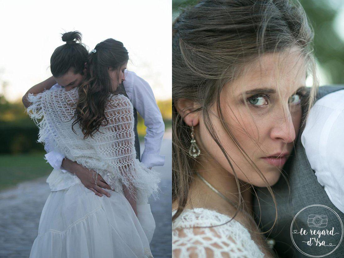 portrait de la mariee et etreinte - Mariage Domaine De Quincampoix