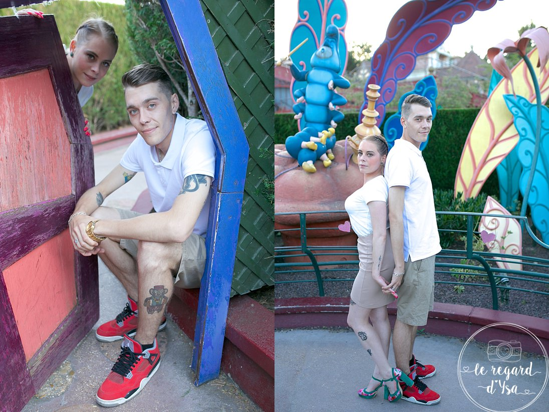 seance engagement disneyl and paris couple amoureux tatoues